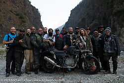 Our great group (L>R) Geoff Kowalchuk, Mikey Revolt, Rob Galen, Doug Wothke, Tim Statt, Patrick Lies, Chris Drew, Jason Adamski, Gary Thomas, Motorcycle Sherpa's Bear Haughton, Justin Big Meas Wilson, Danita Gayle, Christopher Galley, Pat Patterson, Danger Dan and Chris Marino on Motorcycle Sherpa's Ride to the Heavens motorcycle adventure in the Himalayas of Nepal. On the sixth day of riding, we went from Tatopani to Pokhara. Saturday, November 9, 2019. Photography ©2019 Michael Lichter.