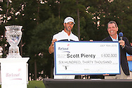 19 JUL 15  Scott Piercy holds the Champions Check on 18 at the conclusion of Sunday's Final Round of The Barbasol Championship at The Robert Trent Jones Golf Trail in Opelika, Alabama. (photo credit : kenneth e. dennis/kendennisphoto.com)