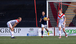 Raith Rovers Liam Buchanan cele scoring their second goal. Airdrie 3 v 4 Raith Rovers, Scottish Football League Division One played 25/8/2018 at the Excelsior Stadium.