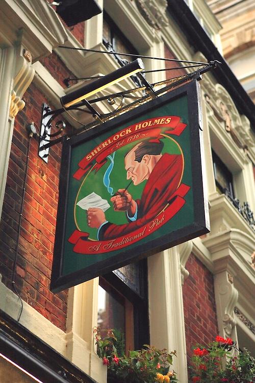 Sherlock Holmes Pub Sign - London, UK