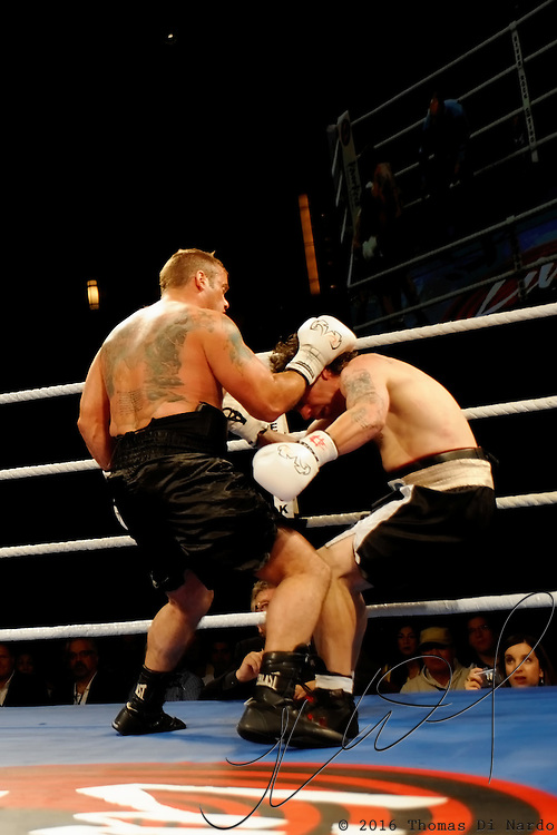 June 19, 2009 - Richmond, BC - Rumble at the Rock IV - Heavyweight fighters Jaime Walton of Burnaby, BC, and Brad McPeake of Vancouver squared off in a four round non-title bout. Walton unleases a fury of punches sending McPeake to the canvas for the third time.The heavyweight four round event between Walton (3-1) and McPeake (1-11-2) ended at 1:35 of the second round with Walton winning on a TKO.