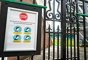 A CoVid 19 sign outside the ground before the Gallagher Premiership Rugby match Northampton Saints -V- Sale Sharks at Franklin's Gardens, Northamptonshire ,England United Kingdom, Tuesday, September 29, 2020. (Steve Flynn/Image of Sport)