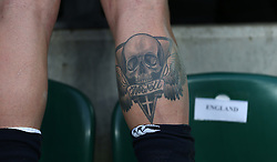 26 February 2017 : 6 Nations Rugby : England v Italy :<br /> the tattoo on the leg of England winger Jack Nowell.<br /> Photo: Mark Leech