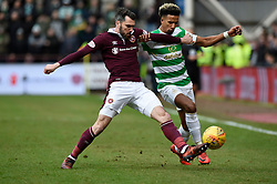 Hearts Michael Smith tackles CelticÕs Scott Sinclair during the Ladbrokes Scottish Premiership match at Tynecastle Stadium, Edinburgh.