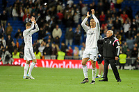 Real Madrid´s Cristiano Ronaldo thank's the supporters during 2014-15 La Liga match between Real Madrid and Malaga at Santiago Bernabeu stadium in Madrid, Spain. April 18, 2015. (ALTERPHOTOS/Luis Fernandez)