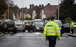 © Licensed to London News Pictures. 11/10/2018. London, UK.  Police at the scene in Hayes where a man was found shot dead after the Mercedes car he was in collided with other vehicles near the Uxbridge Road in Hayes. The victim died at the scene.  Photo credit: Ben Cawthra/LNP