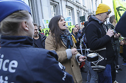 December 18, 2018 - Brussels, Belgium - casserolade (making noise with pans) in front of the Belgian parliament at the call of Act For Climate Justice, for the fight against global warming. A hundred people were gathered this day to make as much noise as possible and alert the Belgian authorities on the issue of global warming. The banners included, among others, Greenpeace and Tout Autre Chose, and Extinction Rebellion. (Credit Image: © Nicolas Landemard/Le Pictorium Agency via ZUMA Press)