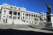 New Zealand, North Island, Wellington, Bronze sculpture of Richard John Seddon, stands outside the parliament buildings