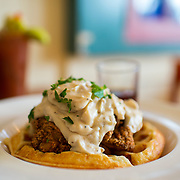 Chicken and waffles at Crema in Pacific Grove, Calif.