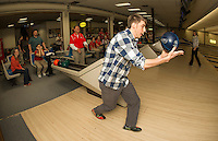 """Peter Stivali and Mr. Chase take to the lanes at Funspot Thursday afternoon as the LHS Bowlers take on LHS Faculty battle for """"bragging rights"""" in a Baker Format fundraiser to benefit the LHS bowling program.   (Karen Bobotas/for the Laconia Daily Sun)"""