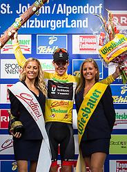 04.07.2012, Alpendorf, AUT, 64. Oesterreich Rundfahrt, 4. Etappe, Lienz - St. Johann/Alpendorf, im Bild Traeger des gelben Trikots - Jakob Fuglsang (DEN, Radioshack-Nissan) // Radioshack-Nissan driver Jakob Fuglsang of Denmark wears the yellow jersey during the 64rd Tour of Austria, Stage 4, from Lienz to the St. Johann/Alpendorf, Alpendorf, Austria on 2012/07/04. EXPA Pictures © 2012, PhotoCredit: EXPA/ Juergen Feichter