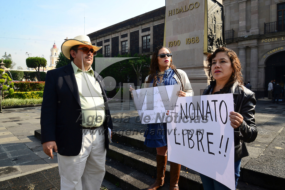 Toluca, Méx.- Miembros de la comunidad artística y cultural del Estado de México se manifestaron frente a la Cámara de Diputados para exigir la liberación de Jesús Nonato Barrón, detenido el pasado lunes presuntamente de forma injustificada. Agencia MVT / Crisanta Espinosa