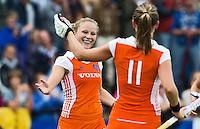 DEN BOSCH -  Sam Saxton van Nederland tijdens de wedstrijd tussen de vrouwen van Jong Oranje  en Jong Wit-Rusland (15-0), tijdens het Europees Kampioenschap Hockey -21. ANP KOEN SUYK