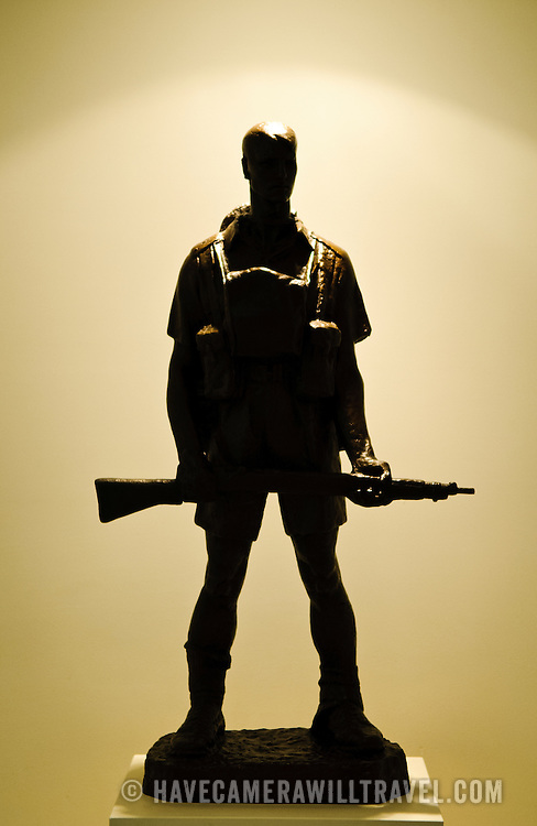 Bronze statue of a digger at the Australian War Memorial in Canberra, ACT, Australia