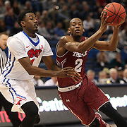 Will Cummings, (right), Temple, drives past Ryan Manuel, SMU, during the Temple Vs SMU Semi Final game at the American Athletic Conference Men's College Basketball Championships 2015 at the XL Center, Hartford, Connecticut, USA. 14th March 2015. Photo Tim Clayton