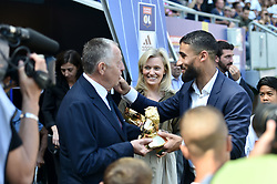 August 12, 2018 - Lyon, France - NABIL FEKIR (ol) - TROPHEE  PRESENTATION COUPE DU MONDE -  JEAN MICHEL AULAS (PRESIDENT LYON) - NATHALIE BOY DE LA TOUR  (Credit Image: © Panoramic via ZUMA Press)
