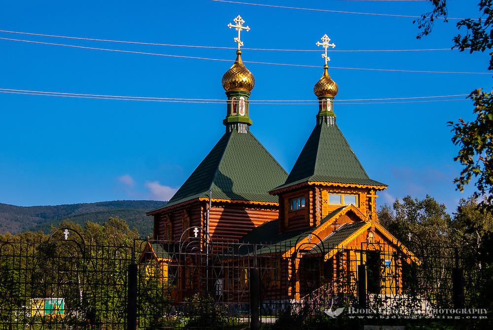 Russia, Sakhalin, Yuzhno-Sakhalinsk. The Church of Saint Nicholas is an orthodox church made from wood.