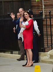 The Duke and Duchess of Cambridge and their newborn son outside the Lindo Wing at St Mary's Hospital in Paddington, London.