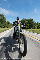 Thomas Trapp, owner of the Harley-Factory Frankfurt dealership in Germany on his 1916 Harley-Davidson during the Motorcycle Cannonball Race of the Century. Stage-4 from Chillicothe, OH to Bloomington, IN. USA. Tuesday September 13, 2016. Photography ©2016 Michael Lichter.