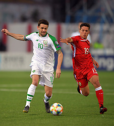 Republic of Ireland's Robbie Brady (left) and Gibraltar's Tjay De Barr battle for the ball during the UEFA Euro 2020 Qualifying, Group D match at the Victoria Stadium, Gibraltar.