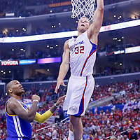 21 April 2014: Los Angeles Clippers forward Blake Griffin (32) goes for the dunk during the Los Angeles Clippers 138-98 victory over the Golden State Warriors, during Game Two of the Western Conference Quarterfinals of the NBA Playoffs, at the Staples Center, Los Angeles, California, USA.