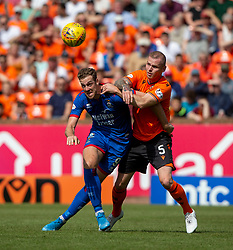 Inverness Caledonian Thistle's Jordan White and Dundee United's Mark Connolly. half time : Dundee United 2 v 1 Inverness Caledonian Thistle, first Scottish Championship game of season 2019-2020, played 3/8/2019 at Tannadice Park, Dundee.