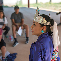 Miss Navajo Nation Alyson Shirley speaks about sheep butchering and the importance of maintaining Diné culture at the Tséhootsooí Medical Center Youth Culture Retreat  July 29 at Assayí Lake.