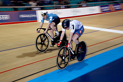 Jason Kenny (right) and Jack Carlin in the Men's Sprint Final during day one of the Six Day Series Manchester at the HSBC UK National Cycling Centre.