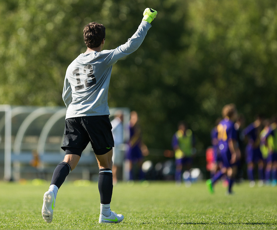 John Pappas of Colby College celebrates a goal during a NCAA Division III soccer game against Williams College on September 19, 2015 in Waterville, ME. (Dustin Satloff/Colby College Athletics)