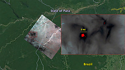 August 23, 2019 - Amazon Forest - ECOSTRESS imagery of fires burning in the Brazilian Amazon on Aug. 23, 2019. Red areas show regions hotter than the sensor was designed to measure (approximately 220 degrees Fahrenheit, or 104 degrees Celsius). Dark wispy areas indicate thick smoke. (Credit Image: © ESA/ZUMA Wire/ZUMAPRESS.com)