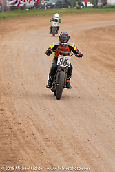 Don Gallaway in the Spirit of Sturgis antique motorcycle flat track race at the historic Sturgis Half Mile during the 78th annual Sturgis Motorcycle Rally. Sturgis, SD. USA. Monday August 6, 2018. Photography ©2018 Michael Lichter.