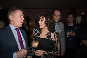 ANDREW PIERCE; JOAN COLLINS; PERCY GIBSON, Bonhams host a private view for their  forthcoming auction: Jackie Collins- A Life in Chapters' Bonhams, New Bond St.  3 May 2017.