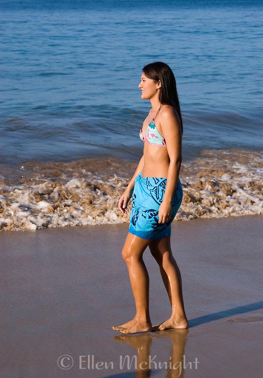 Young Hawaiian Woman on the Beach in Maui