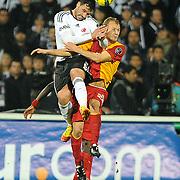Besiktas's Hugo ALMEIDA (L) during their Turkish Superleague Derby match Besiktas between Galatasaray at the Inonu Stadium at Dolmabahce in Istanbul Turkey on Sunday, 20 November 2011. Photo by TURKPIX