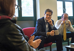 © Licensed to London News Pictures. 19/11/2014. London, UK Nick Clegg, the Deputy Prime Minster and Simon Hughes MP meet with staff and patients at the Chaucer Resource Centre in Bermondesy today 19th November 2014.  He listened to them share their experiences of a range of mental health treatment. Providing an opportunity to listen to people's experiences first hand, and discuss Government initiatives to improve mental health services, such as waiting times and talking therapies.. Photo credit : Stephen Simpson/LNP