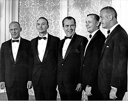 """The Apollo 11 Astronauts pose for a photo with United States President Richard M. Nixon and Vice President Spiro T. Agnew prior to the lavish state dinner in the Astronauts' honor at the Century Plaza Hotel in Los Angeles, CA, USA on August 14, 1969. From left to right: Edwin E. """"Buzz"""" Aldrin, Jr., Michael Collins, President Nixon, Neil A. Armstrong, and Vice President Agnew. Photo by Deris Jeannette / CNP/ABACAPRESS.COM"""