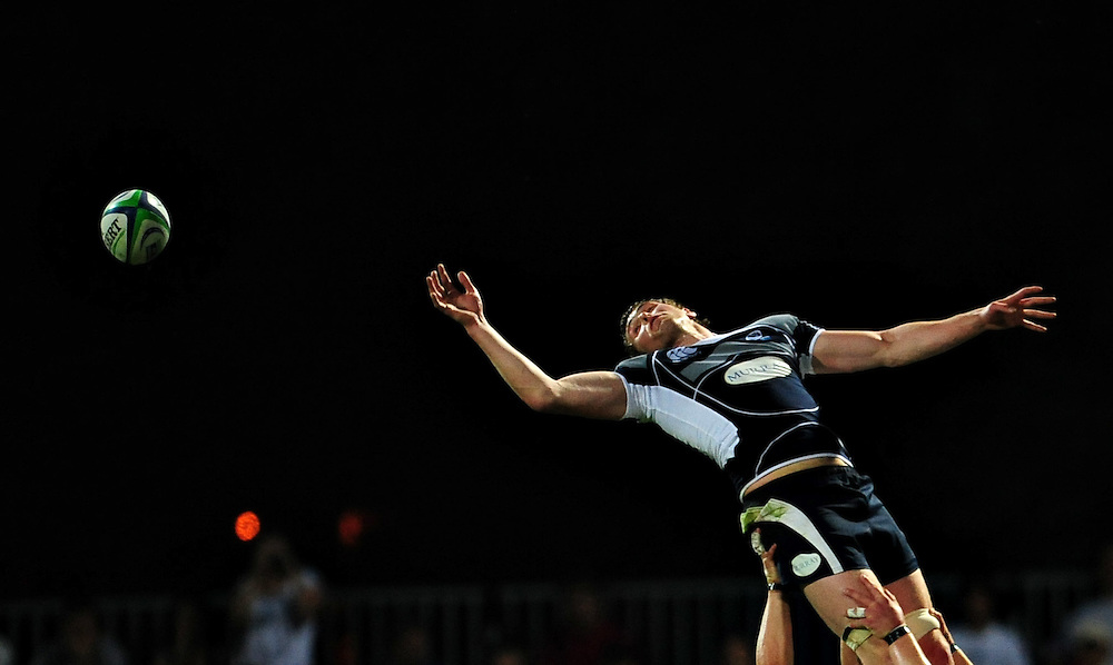 Scotland's James Eddie, fails to catch the ball during a match against France, during the IRB Nationas cup, in Bucharest