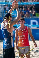 25-08-2019 NED: DELA NK Beach Volleyball, Scheveningen<br /> Last day NK Beachvolleyball / Alexander Brouwer #1, Christiaan Varenhorst #2 Dutch champion Beachvolleyball 2019, Dirk Boehlé