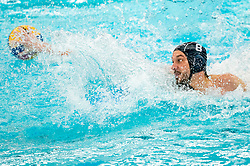 David Babic of the France in action against the Netherlands during the Olympic qualifying tournament. The Dutch water polo players are on the hunt for a starting ticket for the Olympic Games on February 17, 2021 in Rotterdam