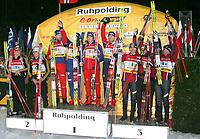 ◊Copyright:<br />GEPA pictures<br />◊Photographer:<br />Thomas Karner<br />◊Name:<br />Siegerehrung<br />◊Rubric:<br />Sport<br />◊Type:<br />Ski nordisch, Biathlon<br />◊Event:<br />Biathlon Weltcup, Staffelwettkampf Maenner 4x7,5km, Siegerehrung<br />◊Site:<br />Ruhpolding, Deutschland<br />◊Date:<br />13/01/05<br />◊Description:<br />2. Deutschland mit Alexander Wolf, Ricco Gross, Sven Fischer, Michael Greis (GER), 1. Norwegen mit Egil Gjelland, Stian Eckhoff, Halvard Hanevold, Ole Einar Bjoerndalen (NOR), 3. Oesterreich mit Ludwig Gredler, Wolfgang Perner, Wolfgang Rottmann, Christoph Sumann (AUT)<br />◊Archive:<br />DCSTK-1301054021<br />◊RegDate:<br />13.01.2005<br />◊Note:<br />8 MB - BG/BG - Nutzungshinweis: Es gelten unsere Allgemeinen Geschaeftsbedingungen (AGB) bzw. Sondervereinbarungen in schriftlicher Form. Die AGB finden Sie auf www.GEPA-pictures.com.<br />Use of picture only according to written agreements or to our business terms as shown on our website www.GEPA-pictures.com.