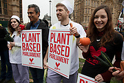 Veganuary protesters calling for Members of Parliament to go vegan for January on 4th December 2018 in London, England, United Kingdom.