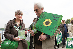 © Licensed to London News Pictures. 11/05/2017. LONDON, UK. Green party supporters at the Green Party Environment Manifesto launch at Woodberry Wetlands in north London.  Photo credit: Vickie Flores/LNP