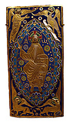 Central plaque from a Champleve enamel and gilded copper cross. French, Limoges circa 1185-95