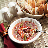 A bowl vegetable soup with real vegetables
