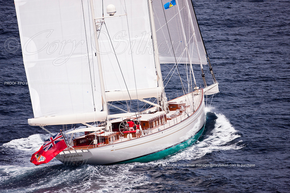 Aerial photographs of Kamaxitha sailing in St. Lucia.