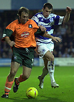 Picture: Raymond Field<br /><br />Queens Park Rangers v Plymouth Argyle nationwide league division two<br /><br />15/11/2003<br /><br />Terrell forbes trying to stop Micky Evans from getting through.