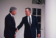 President elect Bill Clinton comes to White House to meet President  H.W. Bush in November 1992<br />Photo by Dennis Brack