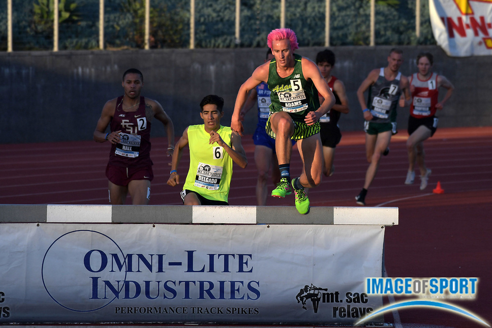 Apr 20, 2018; Torrance, CA, USA; Kale Adams of Adams State wins invitational steeplechase heat in 8:45.23 during the 60th Mt. San Antonio College Relays at Murdock Stadium.