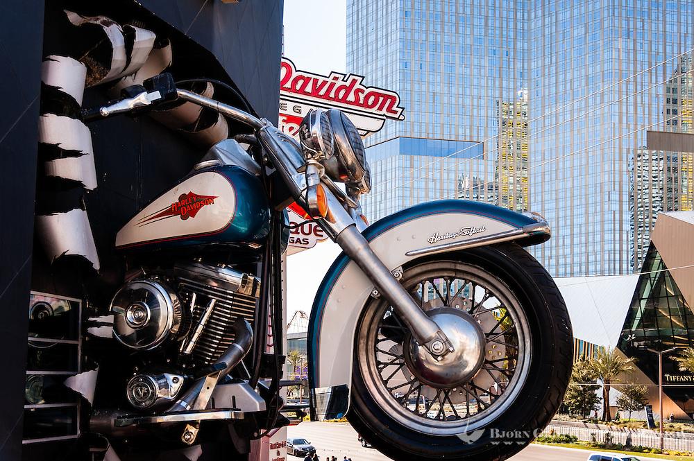 United States, Nevada, Las Vegas Strip. The Harley Davidson Cafe.