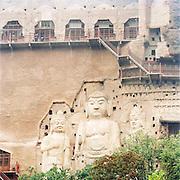 Maijishan Grottoes, a series of 194 caves in Tianshui. Silk Route, Tianshui, Gansu Province, China.
